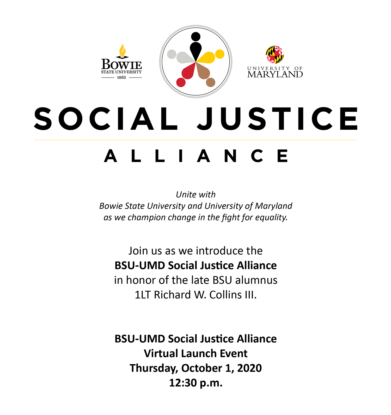 Social Justice Alliance Virtual Launch Event October 1st, 2020 at 12:30 pm